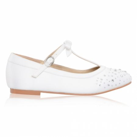 Perfect Bridal Ruthie White Satin Crystal T-Bar Kids Shoes
