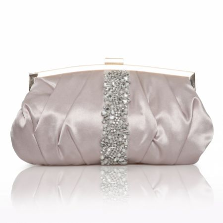 Perfect Bridal Saffron Taupe Satin Embellished Clutch Bag