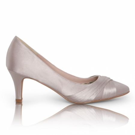 Perfect Bridal Sally Taupe Satin Mid Heel Court Shoes