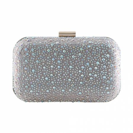Perfect Bridal Sammy Nude Crystal Studded Clutch Bag