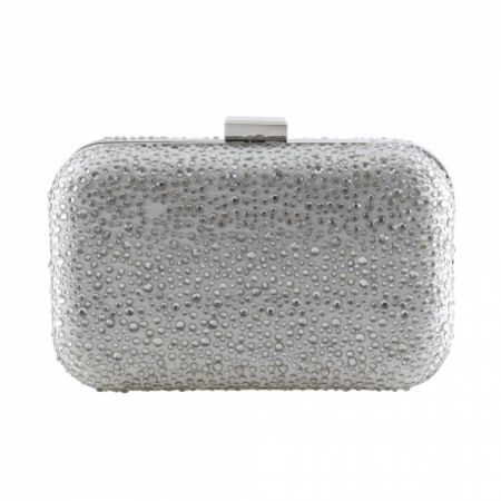 Perfect Bridal Sammy Silver Crystal Studded Clutch Bag