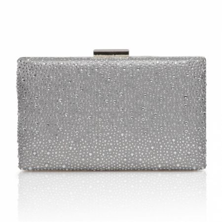 Perfect Bridal Sorrel Silver Sparkly Diamante Box Clutch Bag