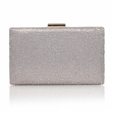 Perfect Bridal Sorrel Taupe Sparkly Diamante Box Clutch