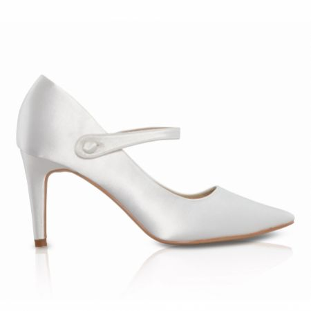 Perfect Bridal Thea Dyeable Ivory Satin Pointed Mary Jane Heels