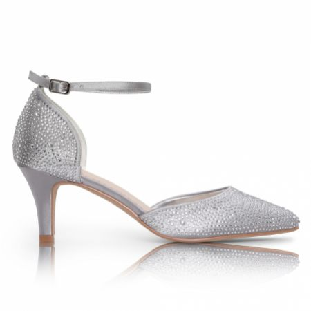 Perfect Bridal Xena Silver Crystal Embellished Ankle Strap Court Shoes