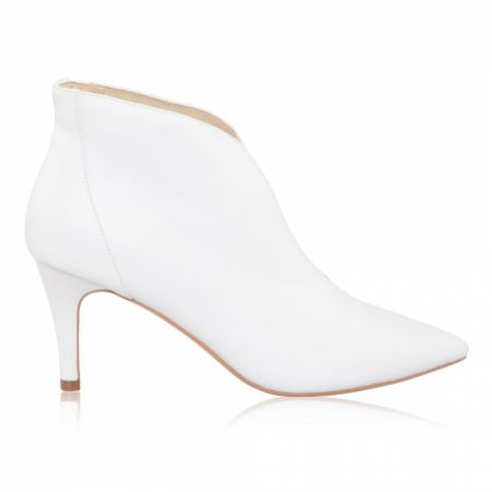 Perfect Bridal Zara Ivory Leather Pointed Toe V Front Wedding Boots