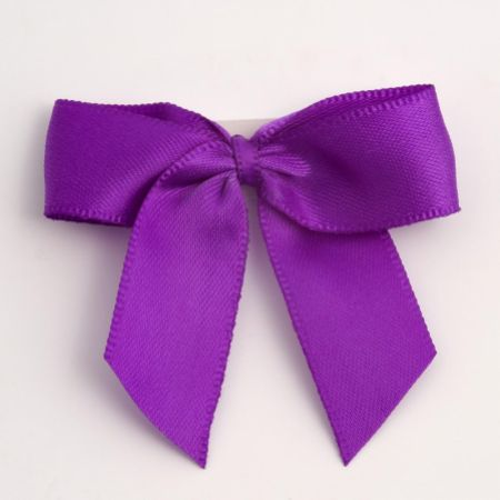 Purple Satin Self Adhesive Bow - Pack of 12