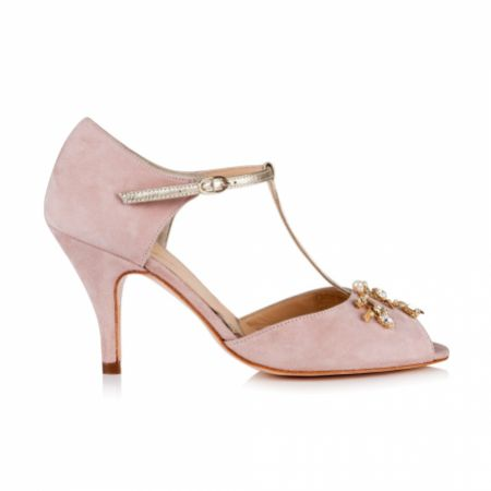 Rachel Simpson Amalia Powder Pink Suede T-Bars with Pearl and Crystal Trim
