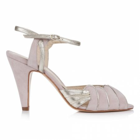 Rachel Simpson Aurelia Powder Pink Suede and Gold Leather Sandals