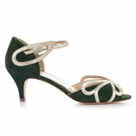 Rachel Simpson Cecelia Forest Green Suede Low Heel Sandals