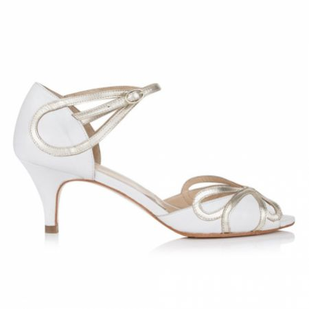 Rachel Simpson Cecelia Ivory White Leather Low Heel Sandals