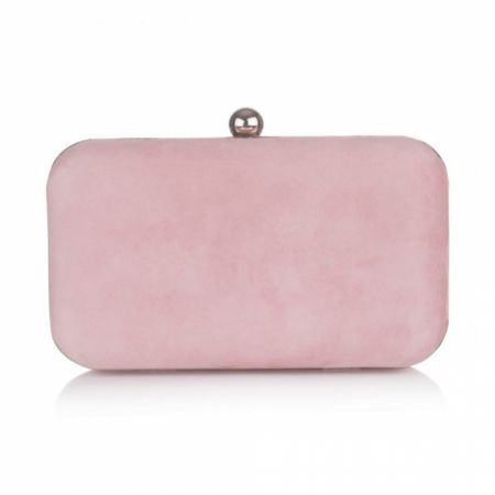 Rachel Simpson Coco Powder Pink Suede Clutch Bag
