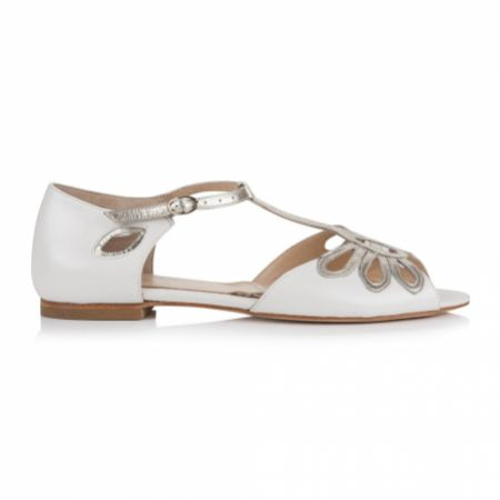 Rachel Simpson Eden Pearlised Ivory Leather Flat T-Bar Sandals