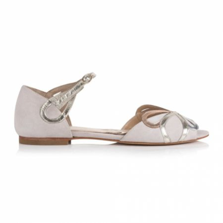 Rachel Simpson Fern Blush Ivory Suede Two Part Flat Sandals