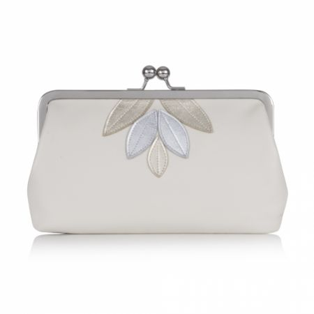 Rachel Simpson Imogen Ivory Leather Clutch Bag