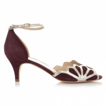 Rachel Simpson Isadora Berry Suede Low Heel Ankle Strap Sandals