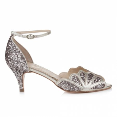 Rachel Simpson Isadora Quartz Glitter Low Heel Ankle Strap Sandals
