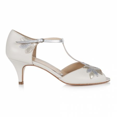 Rachel Simpson Isla Ivory Leather Vintage T-Bar Wedding Shoes