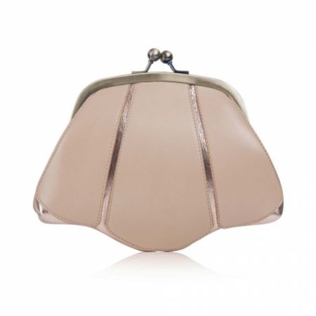 Rachel Simpson Mia Rose Gold Leather Vintage Clutch Bag