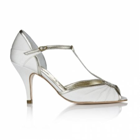 Rachel Simpson Mimi Ivory and Gold Vintage T-Bar Wedding Shoes