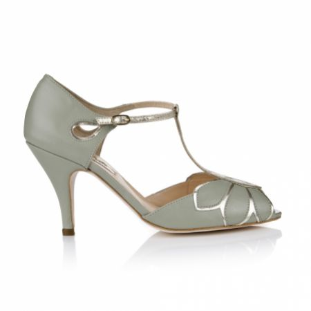 Rachel Simpson Mimosa Mint Leather Vintage T-Bar Wedding Shoes