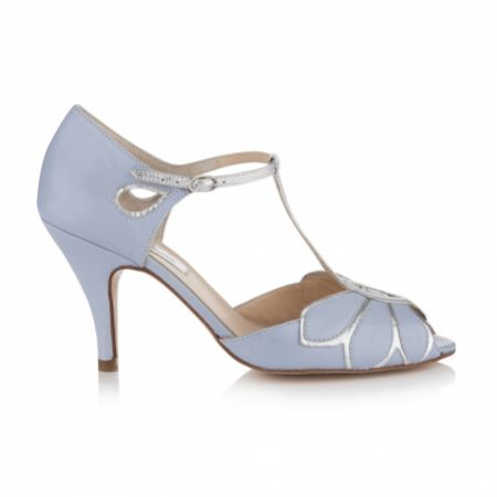 Rachel Simpson Mimosa Powder Blue Leather Vintage T-Bar Wedding Shoes