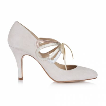 Rachel Simpson Octavia Blush Ivory Suede Vintage Mary Jane Wedding Shoes