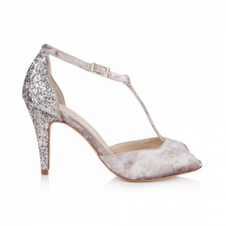 Rachel Simpson Olivia Soft Mauve Velvet and Glitter T-Bars