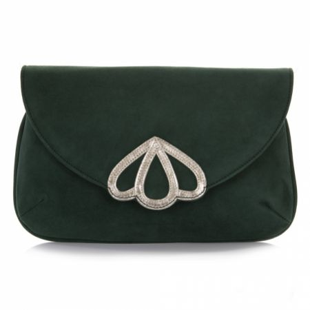Rachel Simpson Opal Forest Green Suede Clutch Bag