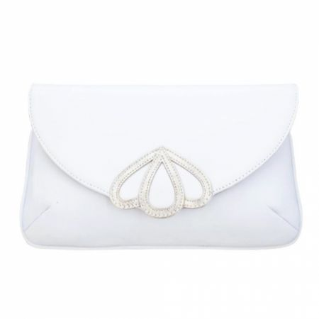 Rachel Simpson Opal Ivory White Leather Clutch Bag