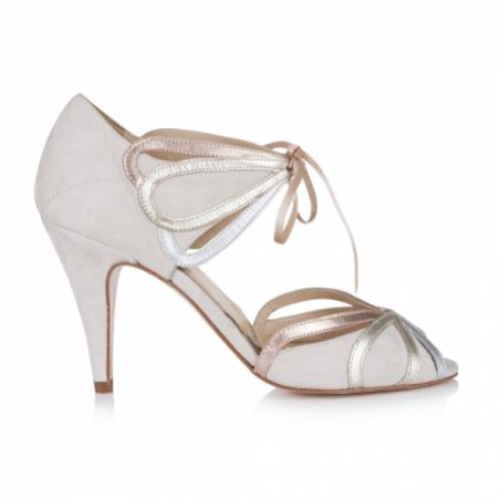 Rachel Simpson Ophelia Blush Ivory Suede Vintage Lace Up Sandals