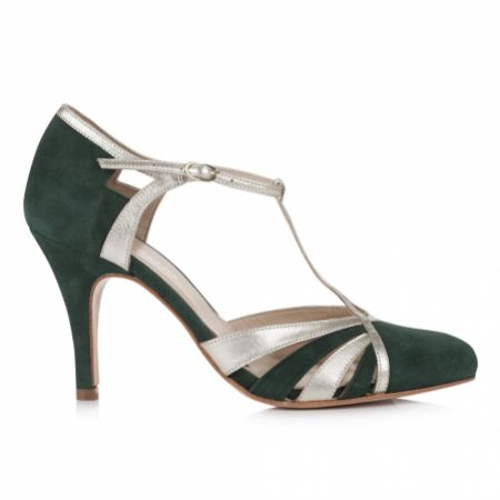Rachel Simpson Paloma Forest Green Suede Vintage T-Bar Shoes