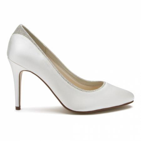 Rainbow Club Billie Dyeable Ivory Satin and Silver Glitter Court Shoes