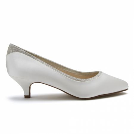 Rainbow Club Bobbie Dyeable Ivory Satin and Silver Glitter Low Heel Court Shoes