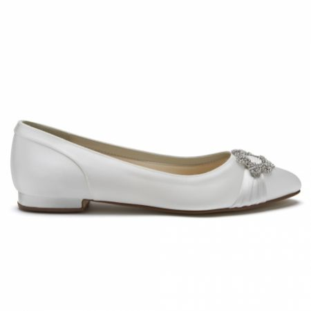 Rainbow Club Dulcie Dyeable Ivory Satin Pumps with Crystal Brooch