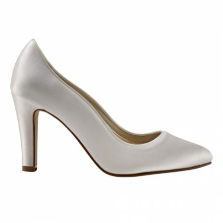 Rainbow Club Ebony Dyeable Ivory Satin Block Heel Court Shoes