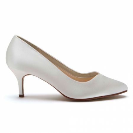 Rainbow Club Elizabeth Dyeable Ivory Satin Sweetheart Throat Court Shoes