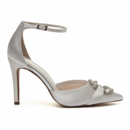 Rainbow Club Filippa Dyeable Ivory Satin Ankle Strap Shoes
