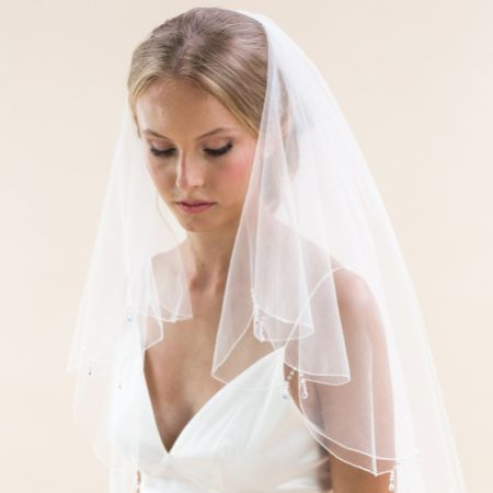 Rainbow Club Firefly Ivory Scalloped Edge Veil with Crystal Drops