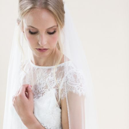 Rainbow Club Flame Ivory Diamante Edge Chapel Length Veil