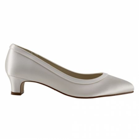 Rainbow Club Gisele Dyeable Ivory Satin Wide Fit Wedding Court Shoes