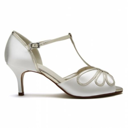 Rainbow Club Harlow Dyeable Ivory Satin and Gold T-Bar Wedding Shoes