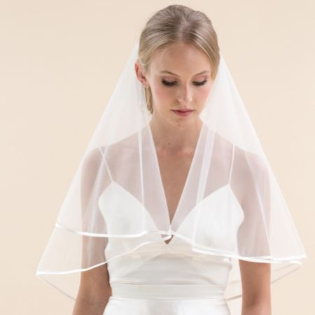 Rainbow Club Jessamy Ivory Two Tier Satin Edge Veil