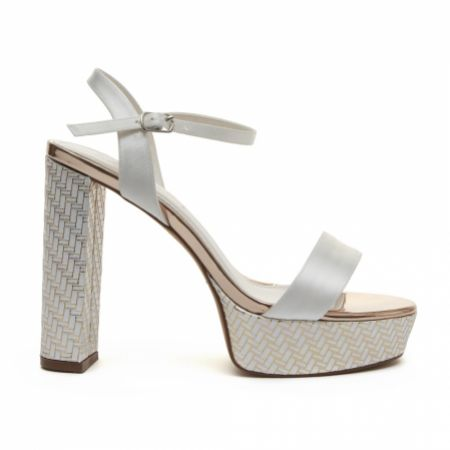 Rainbow Club Nattie Dyeable Ivory Satin and Parquet Block Heel Platform Sandals