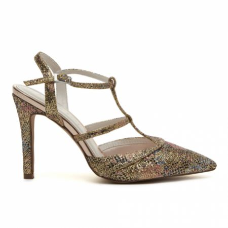 Rainbow Club Rita Gold Glitter Bomb Floral Strappy Court Shoes