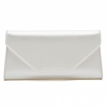 Rainbow Club Roxi Ivory Satin and Glitter Envelope Clutch Bag