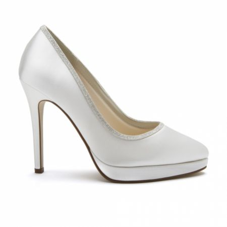 Rainbow Club Tallulah Dyeable Ivory Satin and Silver Glitter Platform Shoes