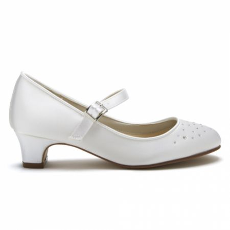 Rainbow Club Verity White Satin and Crystal Kids Bar Shoes