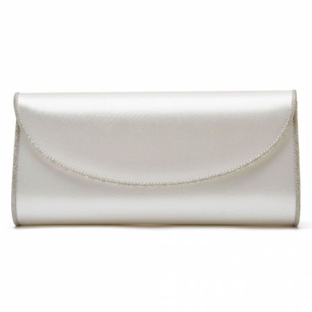 Rainbow Club Viki Dyeable Ivory Satin and Silver Glitter Wedding Clutch Bag