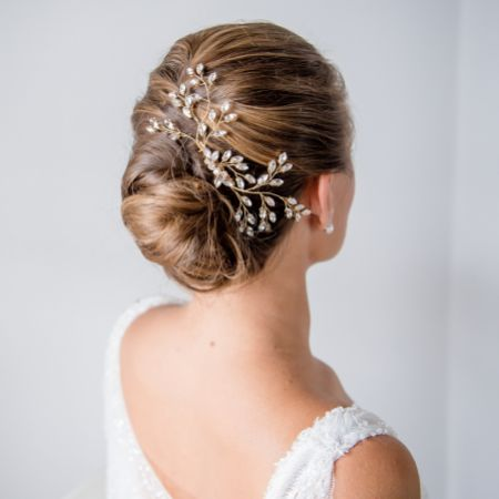 Rhea Gold Crystal Spray Wedding Hair Comb